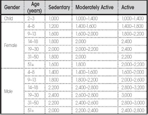 adult caloric requirements